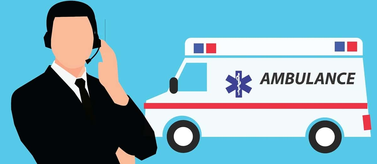 This has a picture of a medical worker without a face who is wearing a telephone headset. There is also a cartoon image of an ambulance next to them.