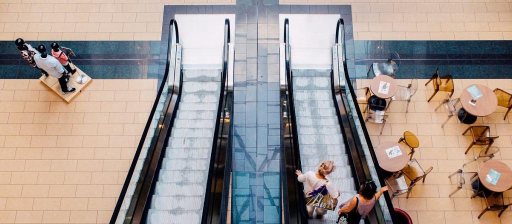 Shopping centre escalators.